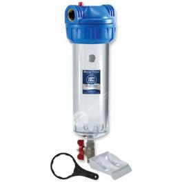 """Filtrační pouzdro 10"""" trojdílné 3/4"""", vypouštěcí ventil + klíč a držák"""